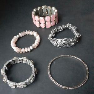 5 assorted bracelets
